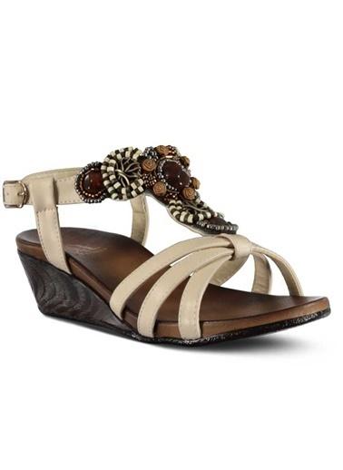 Marjin Dolgu Topuklu Sandalet Bej